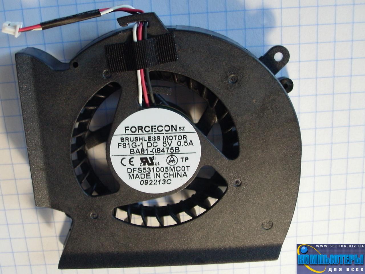 Кулер к ноутбуку Samsung P530 R523 R525 R528 R530 R538 R540 p/n: DFS531005MC0T F81G-1. Фото № 2.